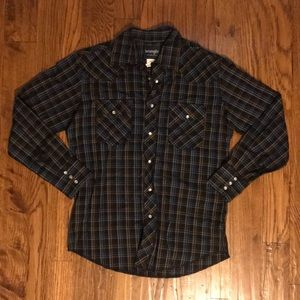 Blue, white, and brown plaid long sleeve shirt
